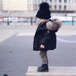 Wholesale 4t Winter Jacket - 2017 Winter Thicken Warm Children Down Cotton Coats Parkas Fashion Big Fur Hats Hooed Jackets Brand Boys Girls Clothing Warm