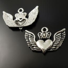 Ailes de coeur antiques en Ligne-25PCS / Pack Antique Argent Alliage de Zinc Ailes Coeur Pendentif Charme Bijoux Trouver 27 * 25 * 2mm 37133 fabrication de bijoux