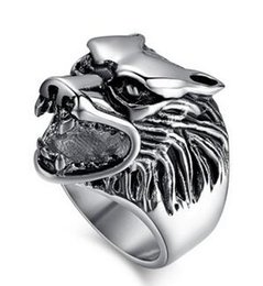 Wholesale Wolf Fingers - Hot sale 316L Stainless Steel Unique finger rings men wolf Head jewelry Punk wolf Men's ring