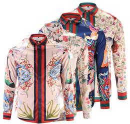 Wholesale Dressed Animals Paintings - 2018 Spring Autumn Luxury Fashion brand cotton of Men's Dress Shirts Slim fit Long Sleeve Casual Shirts medusa Shirt Social