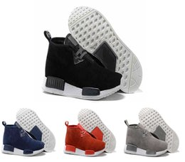 Wholesale Mens Chukka - Original NMD Chukka C1 Runner Blue Black Grey Red Suede High cut Mens Running Shoes Sneakers Boost NMD Winter Sports Shoes eur 40-44