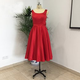 Wholesale Big Satin Ribbon Bows - 2017 Real Image Red Knee Length Short Cocktail Party Dresses With Big Bow Satin Pleated Saudi A Line Prom Gowns