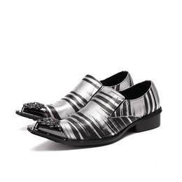 Zapatos de vestir de hombre de metal con punta de hierro de Christia Bella moda Zapatos de hombre de cuero con estampado de zebra zapatos de negocios italianos de Oxford desde fabricantes