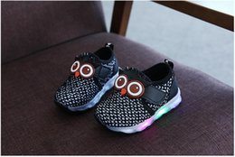 Wholesale Wholesale Light Children Shoe - Boys Girls Shoes Sneakers Kids Owl Led Shoes Winter Autumn Children Casual Athletic Shoes 5 p l