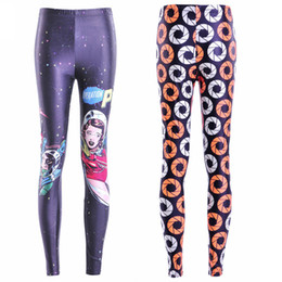 Wholesale Cartoon Leggings Woman - Women Fashion Cartoon People Galaxy Leggings 2 Color Diving Pants Printed Sky Space Stretchy Breathe Christmas Warm Jeggings Slim Tights