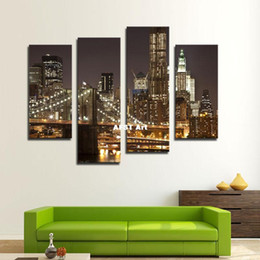Wholesale Brooklyn Bridge Canvas - 4 Picture Combination Canvas Modern Artwork the Brooklyn Bridge Landscape Pictures Paintings on Canvas Wall Art for Home Decor