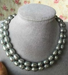 19 zoll halskette Rabatt DOUBLE STRANGS 13-14mm SÜDSEE BAROCK GREY PEARL NECKLACE 18-Zoll-19-Zoll-14K GOLD CLASP