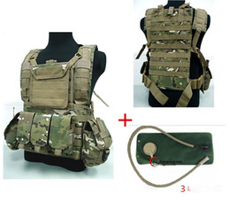 Wholesale Men S Military Bags - Wholesale-3 litres of water bag Military USMC Tactical Combat Molle RRV Chest Rig Paintball Harness Airsoft Vest Multicam