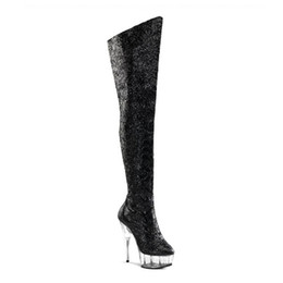 Wholesale pole boots - Customize New Pole Dancing Up Stiletto Sexy Over-the-knee Platform Boots Extreme High Heel 15cm Heel With Platform Women Shoes D0131
