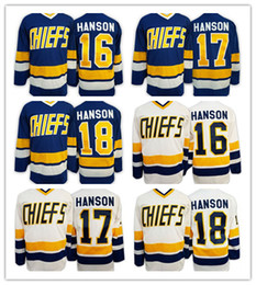 Wholesale Dunlop Blue - 2016 Brothers Charlestown Slap Shot Movie CCM Hockey Jerseys Cheap 16 Jack Hanson 17 Steve Hanson 18 Jeff Hanson 7 Reggie DUNLOP Blue