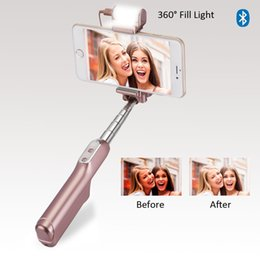 Wholesale Rose Foldable - Bluetooth Selfie Stick with 360 Degree Led Fill Light and Rear Mirror Extendable and Foldable Wireless Monopod Gold PINK High Quality