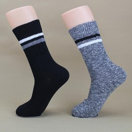 Wholesale Wholesale Winter Boots For Men - Wholesale-2016 Fall Winter Fashion Brand Business Men Socks Coolmax Compression Boot Socks For Male Black Striped Casual Sport Sock XP35