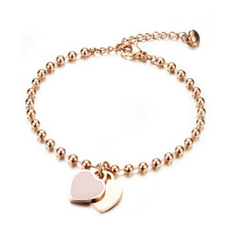 Wholesale Rose Extensions - Women Custom Engraved Bracelet Stainless Steel Rose Gold Plated Beads Chain Bracelet with Heart Charm 165mm+45mm Extension
