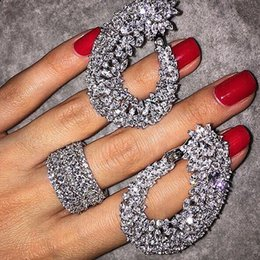 Wholesale Designs For Diamond Rings - luxury design made of sterling silver 925 samples set for wedding carnations and ring of the sets and the imitation diamond wedding jewelry