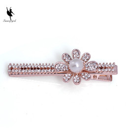 Wholesale Wedding Bangs - Rhinestone Pearl Rose Gold Bangs Hair clip Bridesmaid A Word Hairpin Wedding Party A Girl's Fashion Flower Hair Accessory