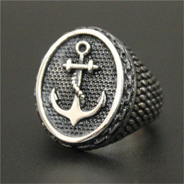 Wholesale Mens Anchor Rings - 2pcs lot size 7-14 Newest Design Silver Anchor Cool Ring 316L Stainless Steel Biker Style Mens Hot Selling Band Party Punk Style Ring