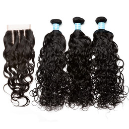 Wholesale Wavy Hair Part - Brazillian Water Wave With Wet and Wavy Lace Closure Free Middle 3 Way Part Closure 4X4'' With Bundles Loose Curls Human Hair Weaves