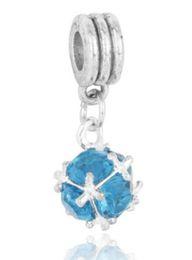 Wholesale Diy Dangle Beads - Wholesale10pcs Fashion Crystal Ball Dangle Beads Silve European Charms Bead Fit Pandora SnakeChain Bracelet Fashion DIY Jewelry