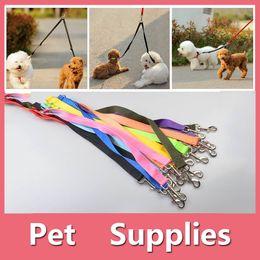 Wholesale Wedding Way - Duplex Double Leash Pet Dog Coupler Twin Lead 2 Way Two Pet Dogs Walking Leash Safety 16090804