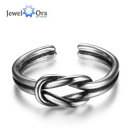 Wholesale Sterling Silver Knot - New Fashion Women & Man 925 Sterling Silver Sizable Rings Open Cuff with Knot Adjustable Infinity Ring Best Gifts For Girl JewelOra RI102675