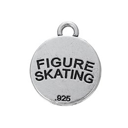 Wholesale Girls Figure Skating - free shipping 50pcs a lot antique silver plated sports figure skating girl charms women jewelry