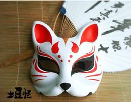 Wholesale japanese masquerade masks - Wholesale-Hand-Painted Fox Mask Endulge Japanese Anime Animal Mask Half Face Paper Pulp Halloween Masquerade Cosplay Masks Cartoon
