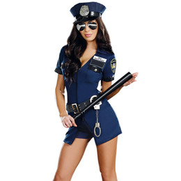 Wholesale Sexy Police Officer Costumes - Sexy Women's Swat Police Officer Halloween Costume Dirty Cop Uniform Short Sleeve Mini Fancy Dress Blue