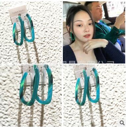 Wholesale Silver Japanese Charm - Newest Japanese geometric long-form earrings with emerald geometric marble earrings