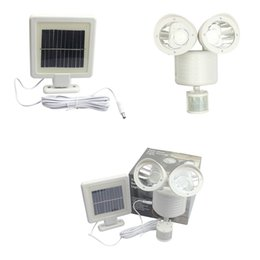 Wholesale garden heads - PIR Motion Sensor 22 LED Solar Light Rotable Two Heads Waterproof Lights Lamp For Outdoor Indoor Garden Yard Wall Spotlights