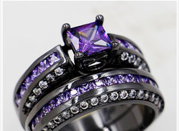 Wholesale Women S Wedding Rings - Wholesale - Size 5 6 7 8 9 Brand Jewelry Princess Cut 6mm Amethyst 10KT Black Gold Filled Women lady&039;s Wedding Engagement Ring Sets for