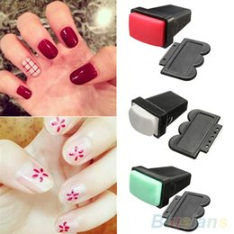 Wholesale Double Sided Nail Stamp - Wholesale- Rubber Nail Art Polish Stamp Single  Double Side Stamper Scraper Manicure Tool 76AA 7GWD 8DPD