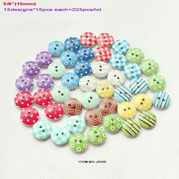 Wholesale Baby Sewing Buttons - (15designs,225pcs lot) Mix wooden buttons sew on baby dress kid's hat crafts scrapbooking gift card Assortment 15MM-ZH50