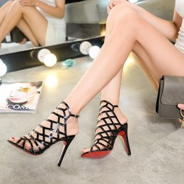 Wholesale Black Gold Gladiators - 2016 summer new European and American ladies sexy high-heeled open-toed sandals hollow design manufacturers, wholesale, now in Europe Hot!