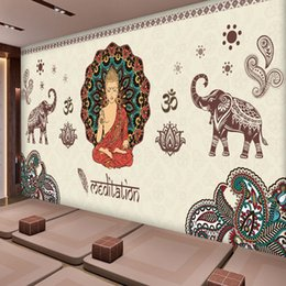 Wholesale Hand Painted Buddha - 3D Hand-painted Thai Thai Yoga Buddha Large-scale Mural Gymnasium Dance Hall Healthy Hall Background Wallpaper Wallpaper