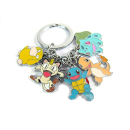Wholesale Mini Toy For Promotion - 2016 iMonster Poke mon Bulbasaur Squirtle Psyduck Meowth pendant Keychain mini Action figures toys for women zlloy keyring 170398