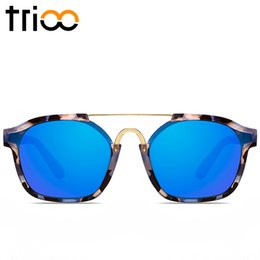 Wholesale Green Glass Marbles - Wholesale- TRIOO Sky Blue Mirror Female Sun Glasses Luxury Brand Colorful Lens Lunette Sunglasses Women High Quality Marble Style Shades