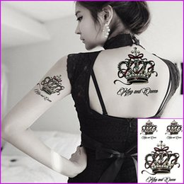 2019 kinder tattoos großhandel Queen Crown Wasserdichte Tranfer Temporäre Tattoo Henna Paste Spitze Schwarz Tattoo Für Frauen Party Make-up Tipps Mädchen Body Art Arm Tatoo