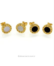 Wholesale Elegant Jewelry For Men - Top Quality Elegant And Charming White Shell And Black Agate Roman Numerals Stud Earrings For Women Men Girls Piercing Jewelry