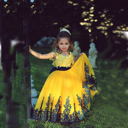 Wholesale Toddler Ruffle Shirts - Yellow Ball Gown Flower Girls Dresses For Weddings Floor Length Little Girls Pageant Dresses Toddler Children Birthday Dresses
