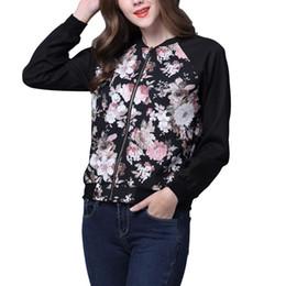 Wholesale Baseball Uniform Wholesale - Wholesale- Floral Jacket Women Spring Autumn No Lining Baseball Uniform Women Ditsy Print Outwear jaqueta femininas Plus Size XL DM#6