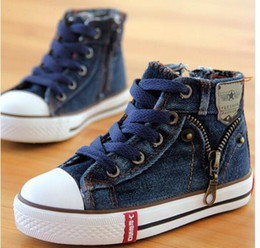 Wholesale Boys Kids Boots Size 12 - 4 kinds New Arrived Size 25-37 Children Shoes Kids Canvas Sneakers Boys Jeans Flats Girls Boots Denim Side Zipper Shoes