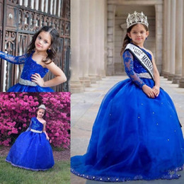 Wholesale One Shoulder Kids Gown - 2017 Long Sleeves One Shoulder Girl's Pageant Dress With Sash Princess Ruffle Beaded Appliques Girl's Formal Dresses Kids party
