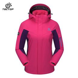 Wholesale Jacket Hood For Women - Wholesale-Outdoor Winter Ski Waterproof Jacket Two-Piece Large Size Fleece Warm Jacket Windproof Hood Sport waterproof jacket for ladies