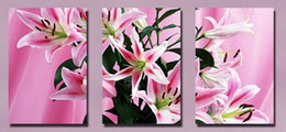 Wholesale Lily Flower Wall Canvas - Beautiful Pink Lily Flower Floral Picture Giclee Print On Canvas Home Decor Wall Art Set30279