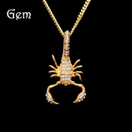 Wholesale Gold Scorpion Pendant - Hip-hop Jewelries For Teens Scorpion Pendant Necklaces Brand Design Gold Plated Hiphop Chains Fashion Accessories Free Shipping
