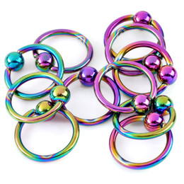 Wholesale Body Jewelry Lip Piercings - Hoop Ring Piercing 100Pcs 316L Stainless Steel Eyebrow Lip Nose Nipple Rings Body Jewelry 16-19G Black Gold Silver Wholesale[BB17-BB114]