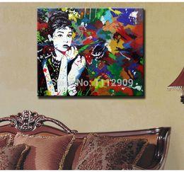 Livraison gratuite !! 100% Peint à la main Abstrait Personnes Peintures à L'huile Sur Toile Pour La Décoration Intérieure Moderne Pop Art Fille en Couleur JauneLivraison Gratuite ? partir de fabricateur