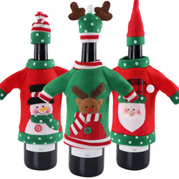 3 pcs Red Wine Bottle Cover Produtos de Ano Novo Decoração da Festa de Natal Suprimentos 2018 Presentes de Ano Novo Decoração para Casa de Fornecedores de tubo de erva de fumo