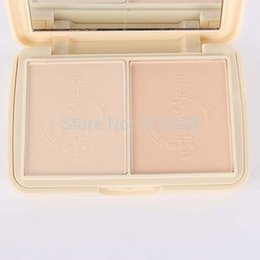 Wholesale Facial Skin Layers - Wholesale-Makeup Natural Compact Pressed Powder 2 Layers Skin Facial Mineral Foundation Set TQH