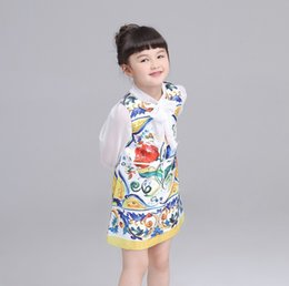 Wholesale Colored Lace Dresses Knee Length - Autumn Newly Design Flower Colored Drawing Big Girls Dress Sleeveless Children Princess Vintage Dressy Girl Dresses Clothes K7911